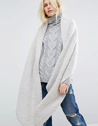 Pieces Textured Knit Scarf Moonbeam White