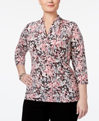 Charter Club Plus Size Floral Print Faux Wrap Top Only At Macy's Peach Blush Combo