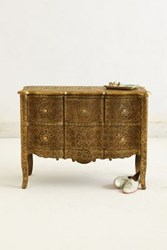 Anthropologie Hand Embossed Four Drawer Dresser Bronze