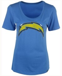 47 Brand '47 Women's San Diego Chargers Lux Sequins Scoop T Shirt Blue