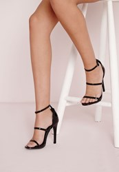 Missguided Three Strap Barely There Heeled Sandals Black