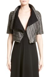 Yigal Azrouel Women's Crop Print Leather Jacket
