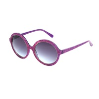 Heidi London Denim Print Circular Sunglasses Fuschsia Pink Purple