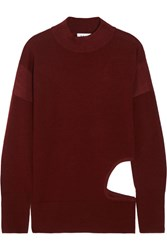 Dkny Cutout Stretch Merino Wool Sweater Merlot