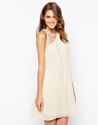 Little Mistress High Neck Prom Dress With Embellished Trim Beige