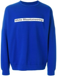 White Mountaineering Logo Print Sweatshirt Blue