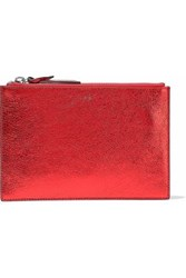 Iro Metallic Cracked Leather Pouch Red