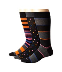Steve Madden 3 Pack Fashion Crew Socks Black Orange Men's Crew Cut Socks Shoes