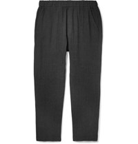 Barena Charcoal Cropped Tapered Slub Linen And Cotton Blend Trousers Black
