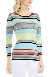 Vince Camuto Colorblock Ribbed Sweater Rich Black
