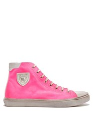 Saint Laurent Bedford Distressed High Top Trainers Pink