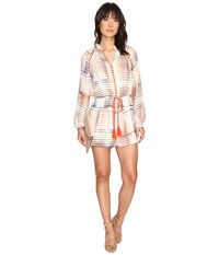Adelyn Rae Printed Long Sleeve Romper Ivory Light Pink Women's Jumpsuit And Rompers One Piece