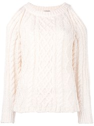 Nude Cable Knit Cut Out Jumper Nude Neutrals