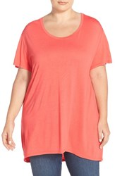 Plus Size Women's Sejour Scoop Neck High Low Tee Coral Rose