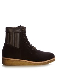 A.P.C. Sia Suede Lace Up Ankle Boots Dark Brown