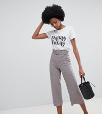 Miss Selfridge Wide Leg Culottes With Belt Detail In Check Multi