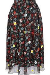 Holly Fulton Embellished Floral Print Silk Crepe De Chine Skirt Black