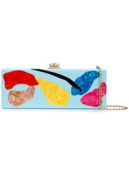 Edie Parker Abstract Print Clutch Blue
