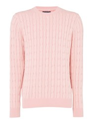 Howick Men's Sanford Cable Crew Jumper Pink