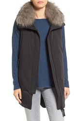 Derek Lam Women's 10 Crosby Genuine Fox Fur Trim Mixed Media Down Vest