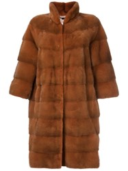 Manzoni 24 Three Quarters Snap Button Coat Brown