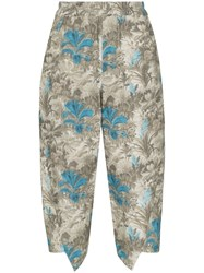 By Walid Printed Cropped Trousers Blue