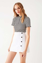 Urban Outfitters Uo Shelly Twill Button Down Mini Skirt Ivory