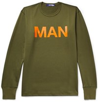 Junya Watanabe Printed Loopback Cotton Jersey Sweatshirt Army Green