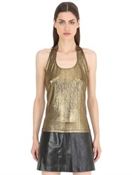 Siran Metallic Open Back Halter Top