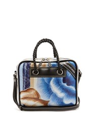 Balenciaga Blanket Square Floral Print Small Leather Bag Blue Multi