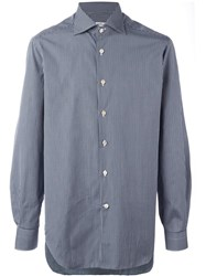 Kiton Checked Button Down Shirt Blue