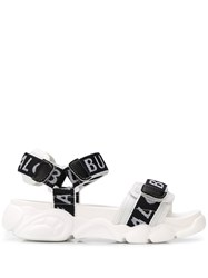Buffalo Branded Touch Strap Sandals White