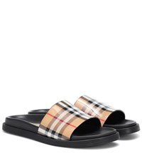 Burberry Checked Slides Beige
