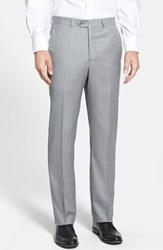 Men's Big And Tall Santorelli Flat Front Wool Trousers Light Grey