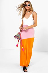Boohoo Colour Block Strappy Maxi Dress Pink