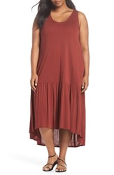 Sejour Plus Size Sleeveless High Low Knit Maxi Dress Rust Madder