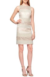 Women's Kay Unger Mixed Media Sheath Dress Beige Multi