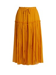 Apiece Apart Dulce Drawstring Silk Chiffon Midi Skirt Yellow