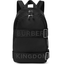 Burberry Logo Jacquard Webbing And Leather Trimmed Shell Backpack Black