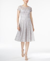 Sangria Sequined Lace Fit And Flare Dress Gray