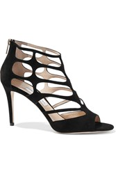 Jimmy Choo Ren Cutout Suede Sandals Black