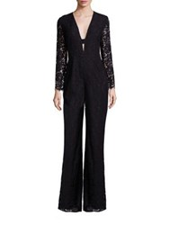 Diane Von Furstenberg Kyara Lace Long Sleeve Jumpsuit Black