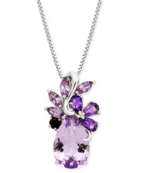Macy's Multi Gemstone Cluster 18 Pendant Necklace 4 1 2 Ct. T.W. In Sterling Silver