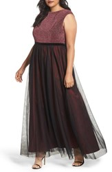 Sangria Plus Size Women's Metallic Knit And Tulle A Line Gown Black Berry