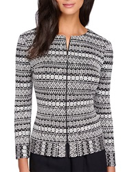 Alex Evenings Embroidered Zip Front Cardigan Black White
