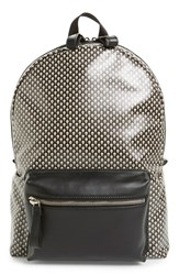 Men's Alexander Mcqueen Skull Print Coated Canvas Backpack With Leather Trim Black Multicolor Black