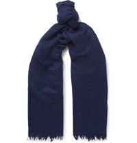 Begg And Co Staffa Fringed Cashmere Silk Blend Scarf Navy