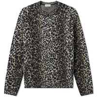 Saint Laurent Leopard Crew Knit Brown