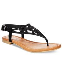 Rampage Pattie T Strap Flat Sandals Women's Shoes Black