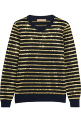 Michael Kors Collection Striped Sequined Cashmere Sweater Gold